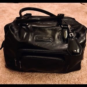 Longchamp Black patented leather bag doctors style